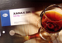 A box of xanax with alcohol